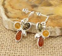 Multi Baltic Amber 925 Silver Drop Earrings