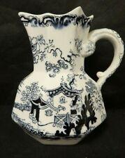 """Vintage Mason'S Azul/negro hexagonal jarra pequeña 5.25"""" de alto (CHA)"""
