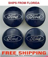 Fits Ford 54mm Alloy Wheel Center Hub Caps Cover for Focus Fiesta Blue (4 pcs)