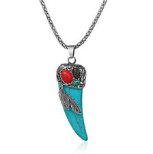 Unique Horns Feather Blue Turquoise Gems Silver Necklace Pendants Holiday Gifts
