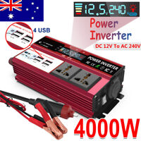 4000W Car Power Inverter Pure Sine Wave DC 12V To AC 240V LCD 4USB Charger Boat