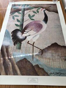 Cranes & Waterlilies Contemporary Japanese Woodblock Print Charles Hollis Jones