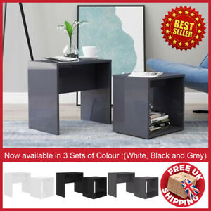 High Gloss Nest of 2Coffee Table Side End Tables Living Room Side Desk Furniture