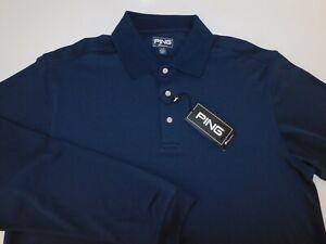 Ping Performance Mens Long Sleeve Dark Blue Polo Golf Shirt Large NEW