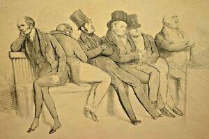 Antique DOYLE UK Parliament Group Sleeping Politicians Illustration Lithograph