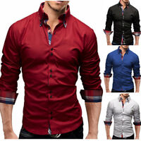 Mens Long Sleeves Dress Shirts Casual Luxury Business Slim Fit Multicolor WS6453