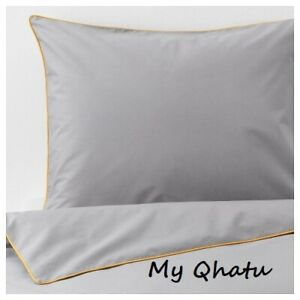 Ikea KUNGSBLOMMA Full/Queen Duvet cover + 2 pillowcase Gray/ Yellow NEW