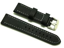 22mm Black Old Style Crazy Horse Leather Replacement Watch Band - U-Boat 22 Mens