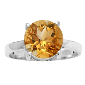 Natural Citrine 925 Sterling Silver Ring s.8 Jewelry E352