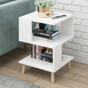 Small Wooden Nightstand Sofa Side Table Tea Coffee Tables Cube With Storage