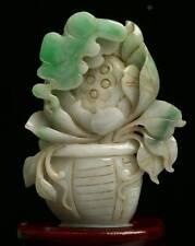 Cert'd Green Natural Grade A Jade jadeite Statue Sculpture flower basket r683252