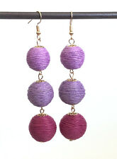 Long Cord Wrapped 3 Layer Purple Balls Dangle Earrings - Gift Boxed