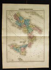 1882:DA ATLAS MIGEON..ITALIE MERIDIONALE-SUD ITALIA.Doppio.Foglio Cm 46x35 .ETNA