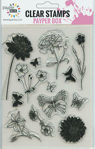 NEW Clear Acrylic Craft Stamp Set Spring Garden.