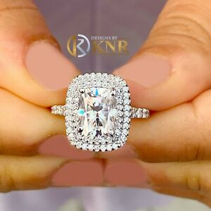 14k White Gold Cushion Forever One Moissanite and Diamond Engagement Ring 4.0
