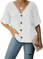 BLENCOT Women's Button Down Short Sleeve V Neck Back Shirts, White, Size X-Large