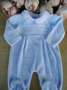 Spanish Style Velour Baby Boy Blue Smocked Embroidered All in One Romper 3-6m
