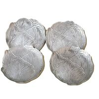 Vintage Set of 4 Hand Forged Aluminum Cabbage Coasters