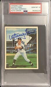 Whitey Ford Signed 1983 TCMA #14 Card 50 Years Yankees HOF PSA/DNA Auto Gem 10