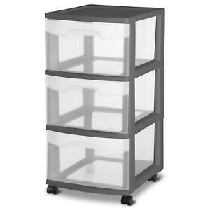 Sterilite Plastic 3 Drawer Cart Black Set of 2