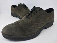 BORN Men's Dark Gray Suede Wingtip Lace Up Oxfords Shoes Size US 12 EUR 46