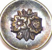 Antique Picture Button Flowers Leaves Tinted Cup Brass Wire Shank #71