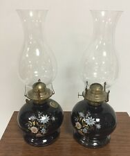 Vintage Lamplight Farms Oil Lamp Black Glass Base Blue Pink White Flowers Gold