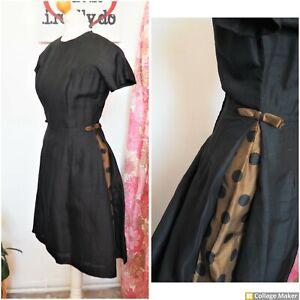 Original Vintage 50s Black & Brown Polka dot Cocktail Party Dress Size 8