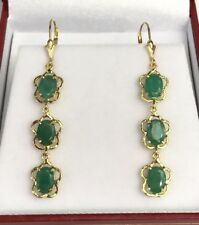 14k Solid Yellow Gold Leverback 3 Stones Dangle Earrings, Natural Emerald 5.5TCW