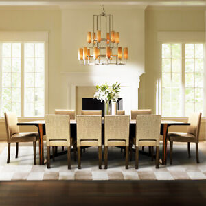 Large contemporary dining set with Macassar table and 10 Decorus London chairs