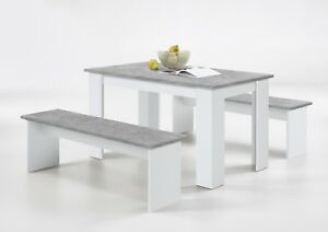 'Durban' Modern Designer Stone Grey & White Dining Table With Bench Seating