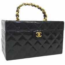 CHANEL Quilted CC Logos Cosmetic Hand Bag Box Black Patent Leather AK31930e