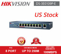 US Stock Hikvision DS-3E0109P-E 10/100Mbps 8 Ports PoE Switch For CCTV IP Camera
