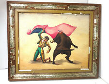 VINTAGE V SALAS ORIGINAL OIL PAINTING ON CANVAS FRAMED 9 1/2  X 7 5/8