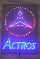Mercedes Benz Schild mit Actros SZ / LED Emblem / 24 Volt blau /rot
