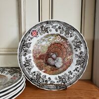 6*NEW NWT~QUEEN'S ~QUINTESSENTIAL GAME~TURKEY~SALAD PLATES ~England~THANKSGIVING