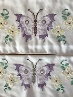 Pair Vtg Embroidered Standard Pillowcases - Purple Yellow Butterflies & Flowers