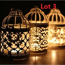 3X Metal Hollow Candle Holder Tealight Candlestick Hanging Lantern Bird Cage US