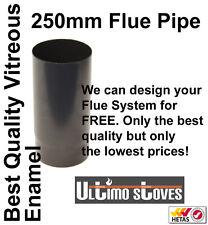 """250mm x 5"""" (125mm) Straight Length Vitreous Enamel Matt Black Stove Flue Pipe"""