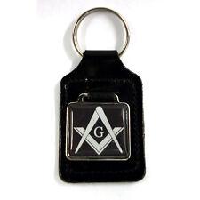 "Masonic  ""G""  Freemason Key Ring - Black, black leather key ring fob FREE UK P&P"