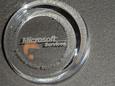 2007 MICROSOFT SERVICES GLASS PAPERWEIGHT! 'A BILLION DOLLAR BUSINESS IN FY07'!