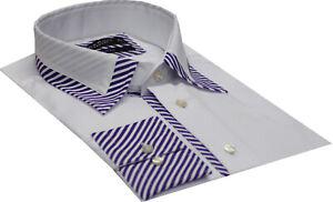 Men Shirt   Striped Collar Detailed Formal  Cotton Slim Fit Size 2XL& 4XL