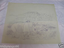 "WOOD CARVING PATTERN 17""X14"" CHIP RELIEF BURNING RHINO RHINOCEROS"