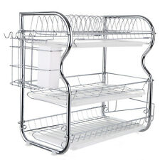 Kitchen Dish Cup Drying Rack Holder Sink Drainer 3-Tier Stainless Steel P0N2