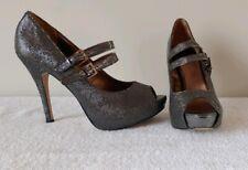 Worthington Women's Silver Sparkle Peep Toe Mary Jane's Heels Pumps Size 9.5