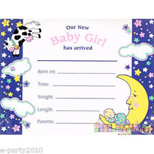 BABY SHOWER Hey Diddle Diddle GIRL BIRTH ANNOUNCEMENTS (8) ~ Party Supplies Pink