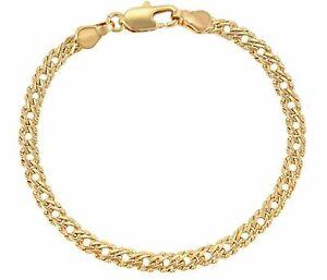 "9ct9k Yellow Gold Filled Bismark Link Bracelet 7"",7.6"", 8"", 8.5"", W = 6mm,Pouch"
