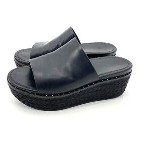 Fitflop Black Leather Eloise Platform Espadrille Slide Sandals Womens Size 7