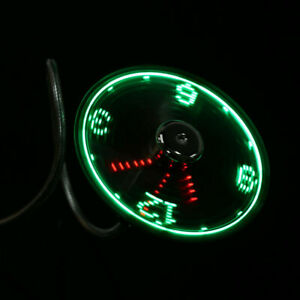 USB Clock fan Cooling Neon Real Time Display Function Clock Fan
