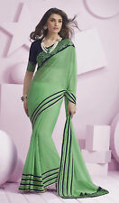 Roop Kashish Sari Green Color Chiffon Saree with Embroidered border with Blouse